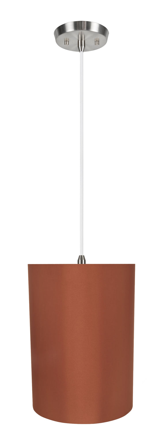 # 71125-11 One-Light Hanging Pendant Ceiling Light with Transitional Drum Fabric Lamp Shade, Redwood, 8