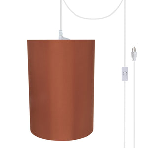 "# 71125-21 One-Light Plug-In Swag Pendant Light Conversion Kit with Transitional Drum Fabric Lamp Shade, Redwood, 8"" width"