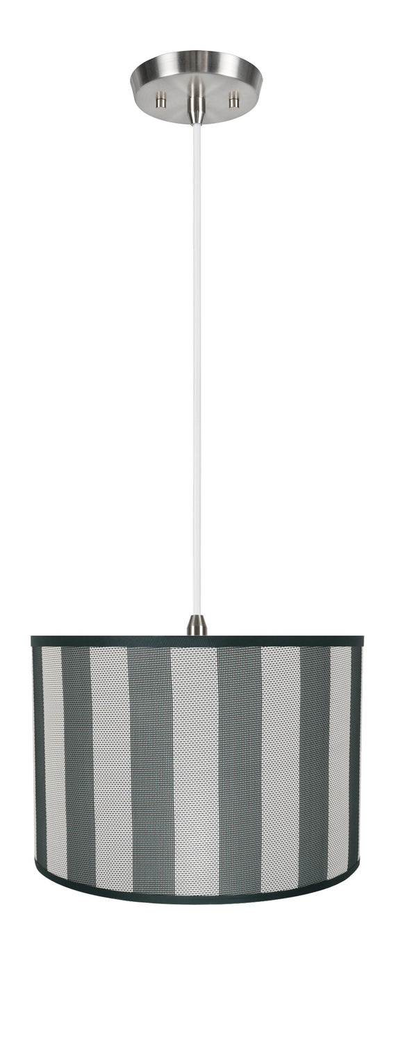 # 71161-11 Two-Light Hanging Pendant Ceiling Light with Transitional Drum Fabric Lamp Shade, Hunter Green & White, 16