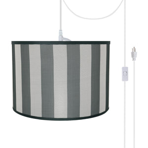 "# 71161-21 Two-Light Plug-In Swag Pendant Light Conversion Kit with Transitional Drum Fabric Lamp Shade, Hunter Green & White, 16"" width"