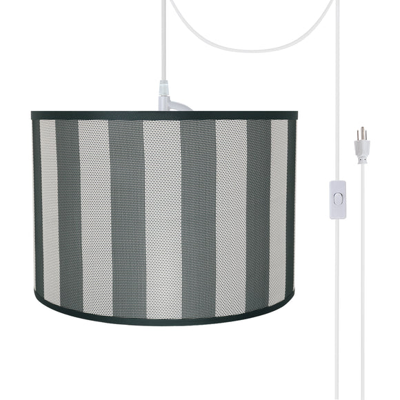 # 71161-21 Two-Light Plug-In Swag Pendant Light Conversion Kit with Transitional Drum Fabric Lamp Shade, Hunter Green & White, 16