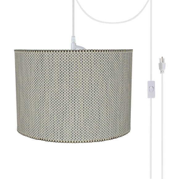 # 71162-21 Two-Light Plug-In Swag Pendant Light Conversion Kit with Transitional Drum Fabric Lamp Shade, Multicolor Weave, 16