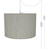 "# 71162-21 Two-Light Plug-In Swag Pendant Light Conversion Kit with Transitional Drum Fabric Lamp Shade, Multicolor Weave, 16"" width"