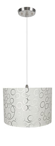 "# 71163-11 Two-Light Hanging Pendant Ceiling Light with Transitional Drum Fabric Lamp Shade, White, 16"" width"