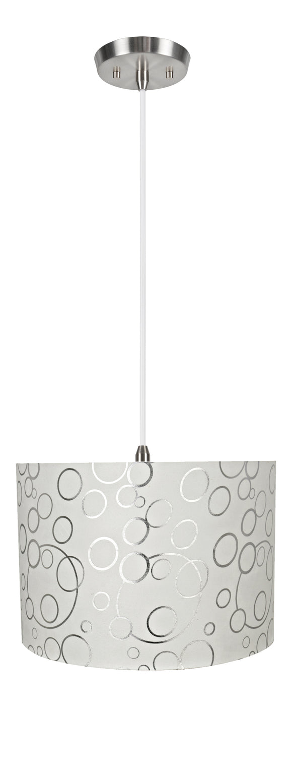 # 71163-11 Two-Light Hanging Pendant Ceiling Light with Transitional Drum Fabric Lamp Shade, White, 16