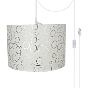 "# 71163-21 Two-Light Plug-In Swag Pendant Light Conversion Kit with Transitional Drum Fabric Lamp Shade, White, 16"" width"