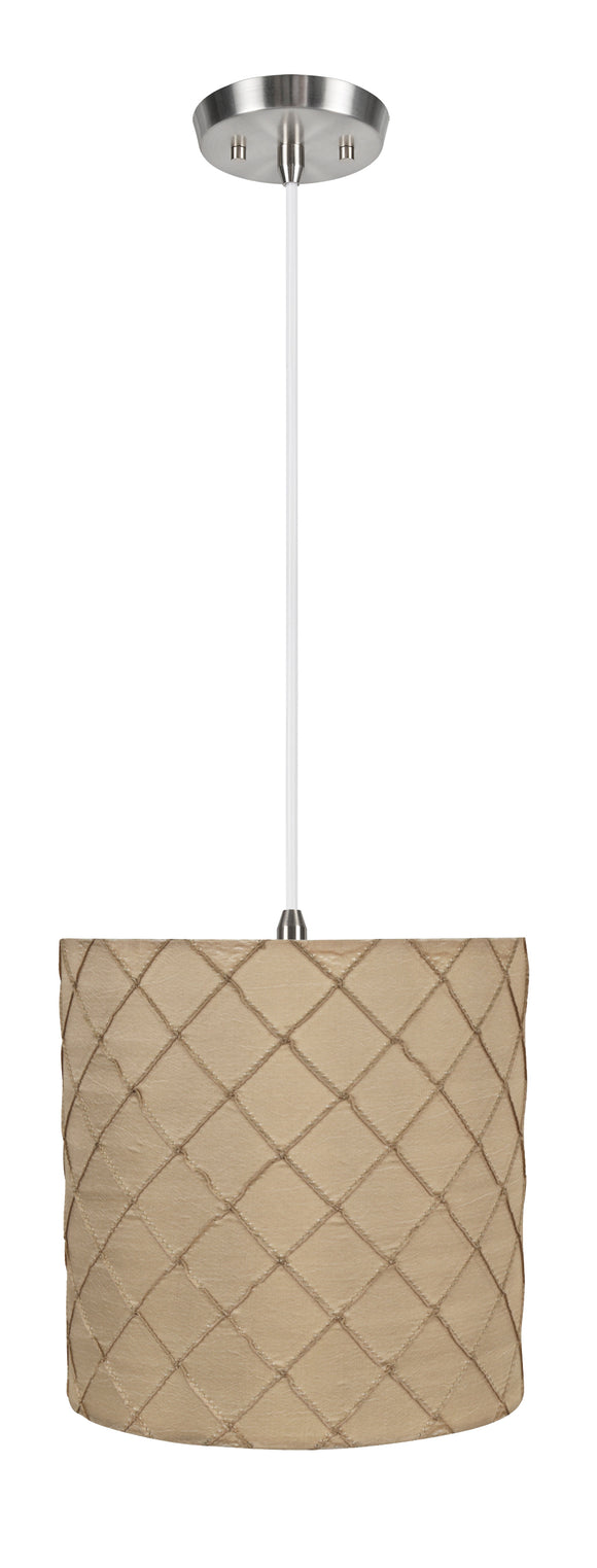 # 71221-11 One-Light Hanging Pendant Ceiling Light with Transitional Drum Fabric Lamp Shade, Beige, 8