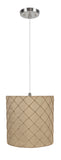 "# 71221-11 One-Light Hanging Pendant Ceiling Light with Transitional Drum Fabric Lamp Shade, Beige, 8"" width"