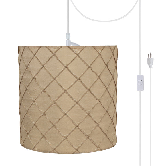 # 71221-21 One-Light Plug-In Swag Pendant Light Conversion Kit with Transitional Drum Fabric Lamp Shade, Beige, 8