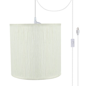 "# 71222-21 One-Light Plug-In Swag Pendant Light Conversion Kit with Transitional Drum Fabric Lamp Shade, Off White, 8"" width"