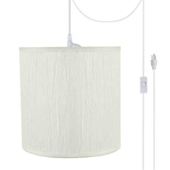 # 71222-21 One-Light Plug-In Swag Pendant Light Conversion Kit with Transitional Drum Fabric Lamp Shade, Off White, 8