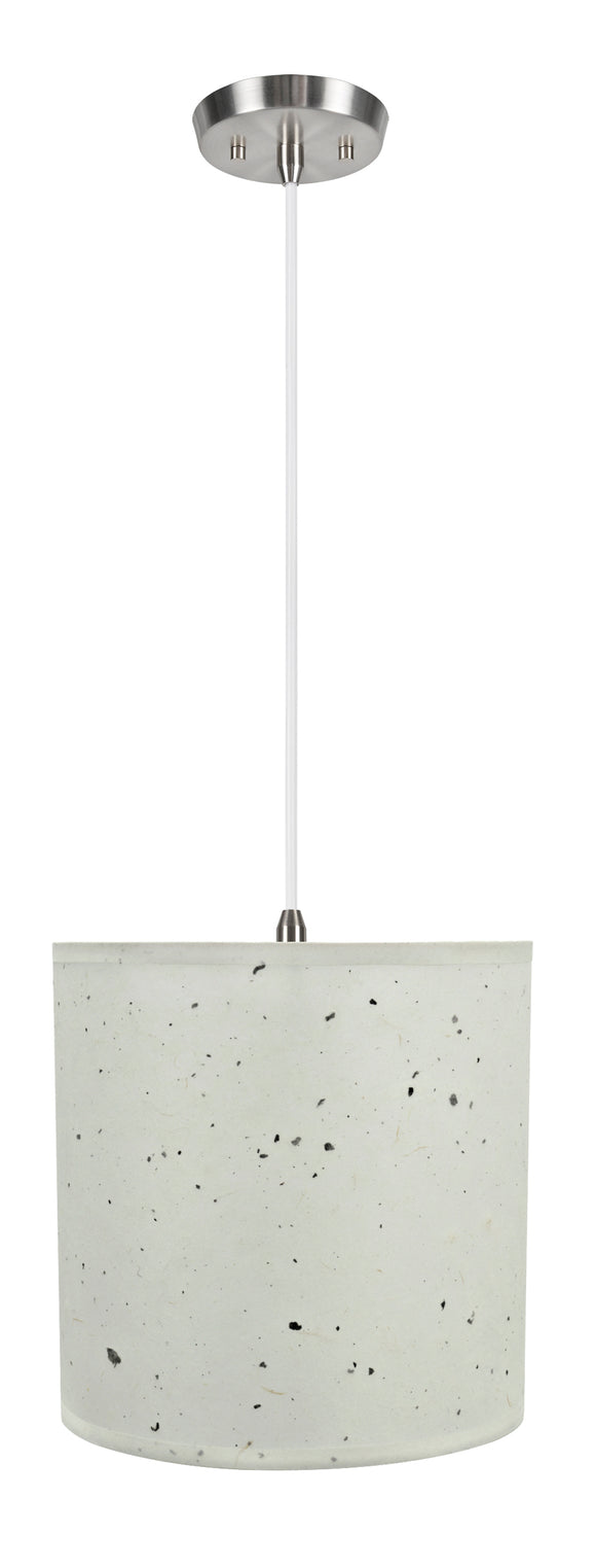 # 71224-11 One-Light Hanging Pendant Ceiling Light with Transitional Drum Fabric Lamp Shade, Off White, 8