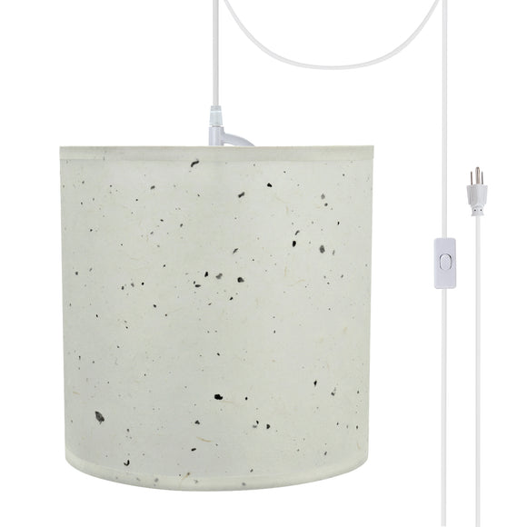 # 71224-21 One-Light Plug-In Swag Pendant Light Conversion Kit with Transitional Drum Fabric Lamp Shade, Off White, 8