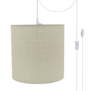 "# 71226-21 One-Light Plug-In Swag Pendant Light Conversion Kit with Transitional Drum Fabric Lamp Shade, Light Grey, 8"" width"