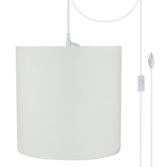 # 71227-21 One-Light Plug-In Swag Pendant Light Conversion Kit with Transitional Drum Fabric Lamp Shade, White, 8
