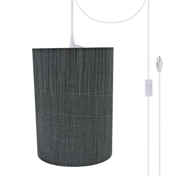 # 71259-21 One-Light Plug-In Swag Pendant Light Conversion Kit with Transitional Drum Fabric Lamp Shade, Grey & Black, 8