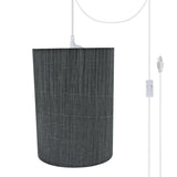 "# 71259-21 One-Light Plug-In Swag Pendant Light Conversion Kit with Transitional Drum Fabric Lamp Shade, Grey & Black, 8"" width"