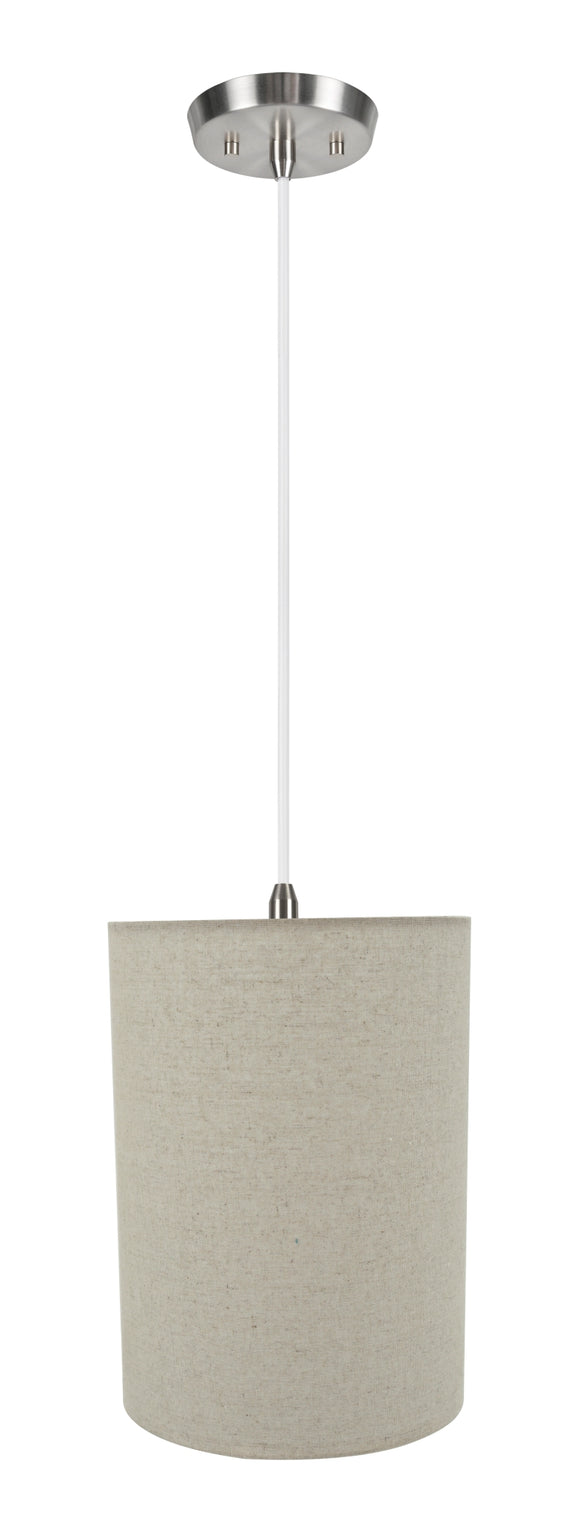 # 71260-11 One-Light Hanging Pendant Ceiling Light with Transitional Drum Fabric Lamp Shade, Light Grey, 8