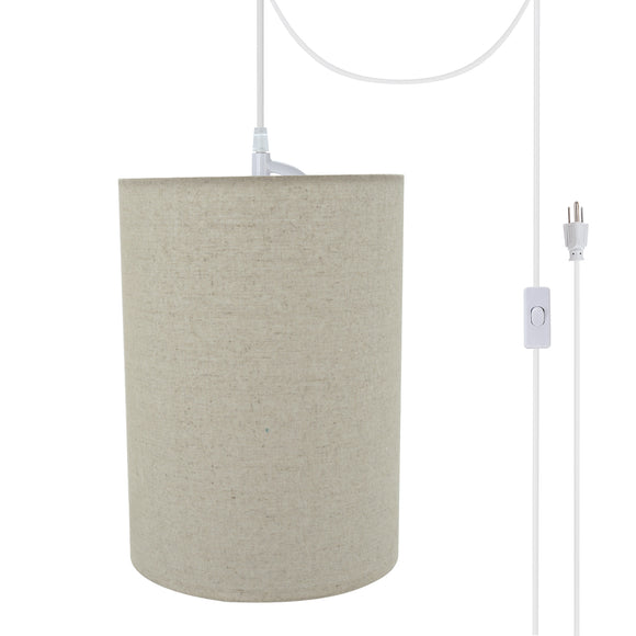 # 71260-21 One-Light Plug-In Swag Pendant Light Conversion Kit with Transitional Drum Fabric Lamp Shade, Light Grey, 8