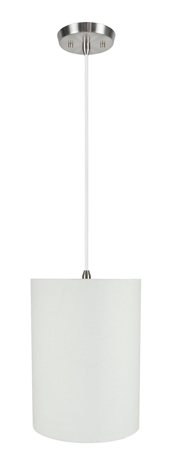 # 71261-11 One-Light Hanging Pendant Ceiling Light with Transitional Drum Fabric Lamp Shade, White, 8