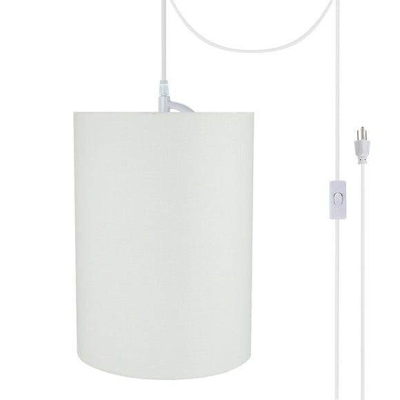 # 71261-21 One-Light Plug-In Swag Pendant Light Conversion Kit with Transitional Drum Fabric Lamp Shade, White, 8