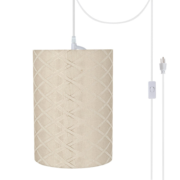 # 71262-21 One-Light Plug-In Swag Pendant Light Conversion Kit with Transitional Drum Fabric Lamp Shade, Off White, 8