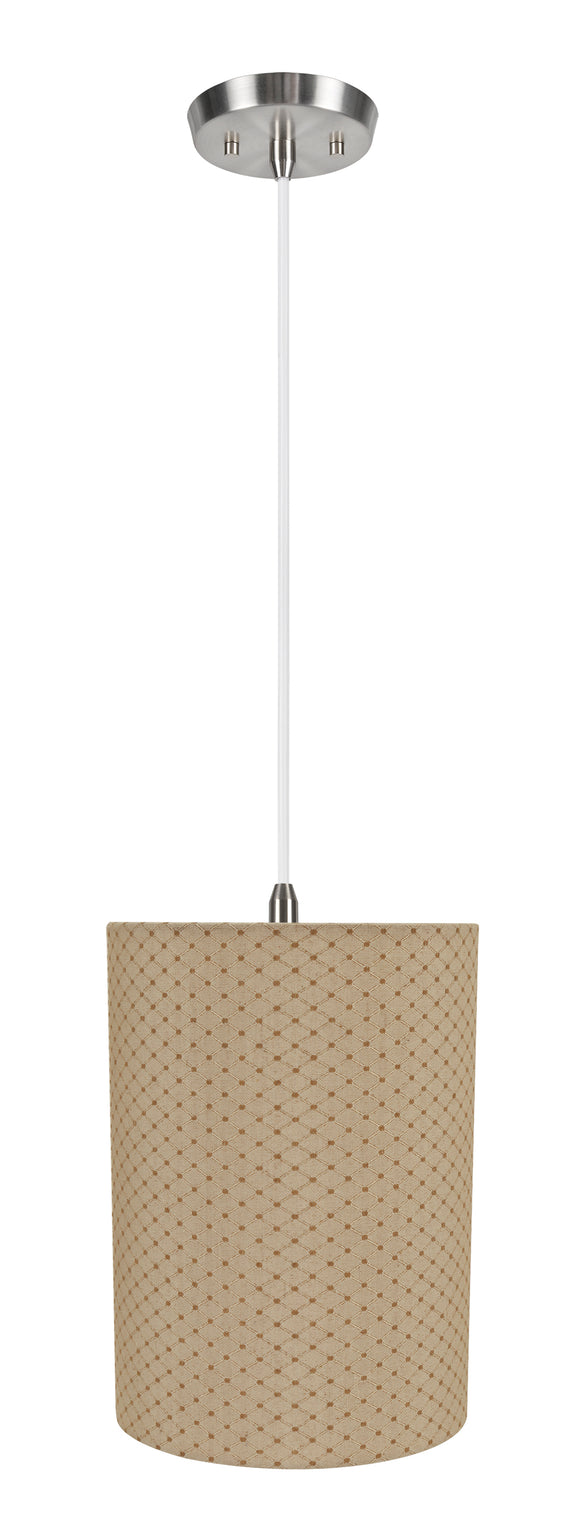 # 71267-11 One-Light Hanging Pendant Ceiling Light with Transitional Drum Fabric Lamp Shade, Beige, 8
