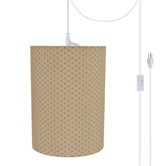 # 71267-21 One-Light Plug-In Swag Pendant Light Conversion Kit with Transitional Drum Fabric Lamp Shade, Beige, 8