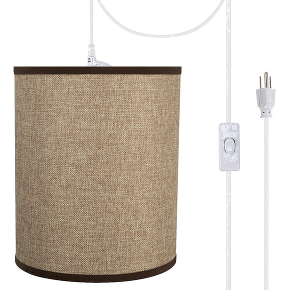 # 71268-21 One-Light Plug-In Swag Pendant Light Conversion Kit with Transitional Drum Fabric Lamp Shade, Straw Yellow, 8
