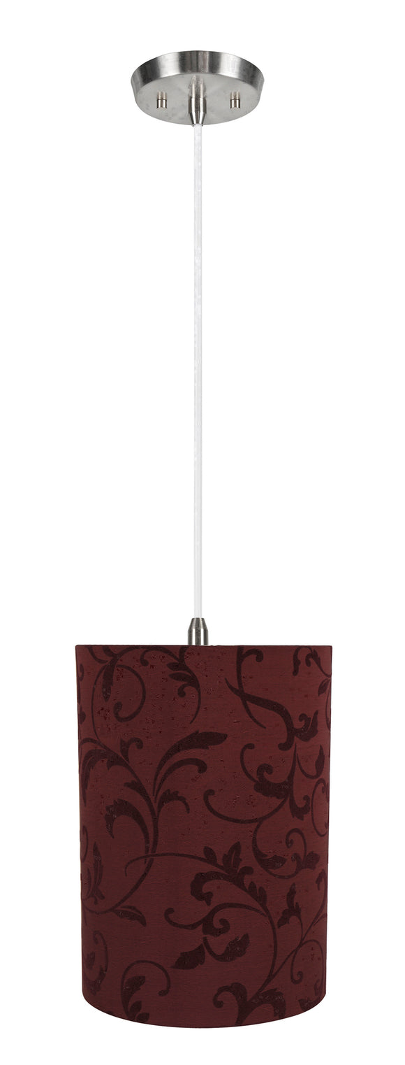 # 71269-11 One-Light Hanging Pendant Ceiling Light with Transitional Drum Fabric Lamp Shade, Red, 8