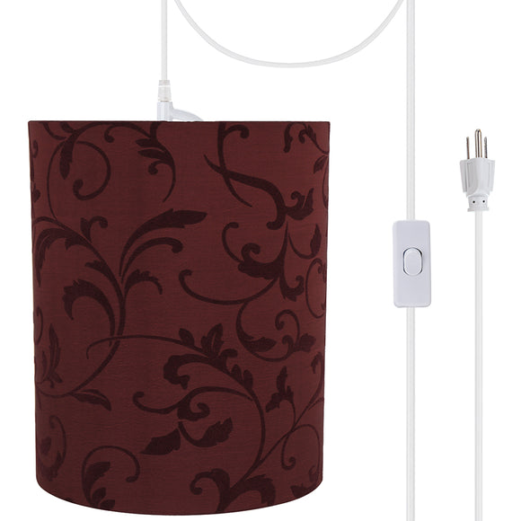 # 71269-21 One-Light Plug-In Swag Pendant Light Conversion Kit with Transitional Drum Fabric Lamp Shade, Red, 8