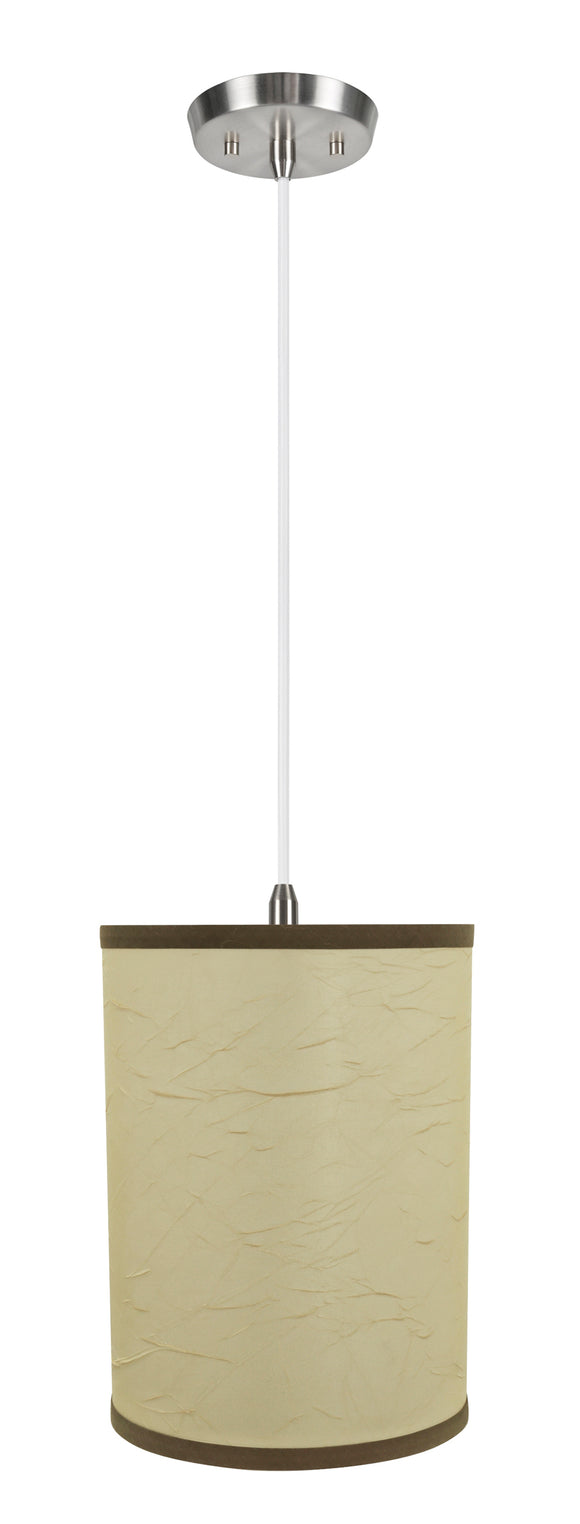 # 71270-11 One-Light Hanging Pendant Ceiling Light with Transitional Drum Fabric Lamp Shade, Beige, 8