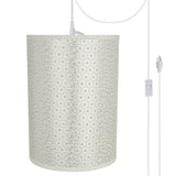 "# 71273-21 One-Light Plug-In Swag Pendant Light Conversion Kit with Transitional Drum Fabric Lamp Shade, Ivory, 8"" width"