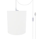 "# 71281-21 One-Light Plug-In Swag Pendant Light Conversion Kit with Transitional Drum Fabric Lamp Shade, White, 8"" width"