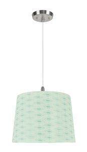 "# 72146-11 One-Light Hanging Pendant Ceiling Light with Transitional Hardback Empire Fabric Lamp Shade, Light Green, 14"" width"