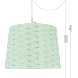 "# 72146-21 One-Light Plug-In Swag Pendant Light Conversion Kit with Transitional Hardback Empire Fabric Lamp Shade, Light Green, 14"" width"