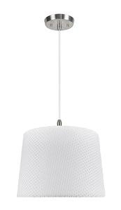 "# 72147-11 One-Light Hanging Pendant Ceiling Light with Transitional Hardback Empire Fabric Lamp Shade, Off White, 14"" width"