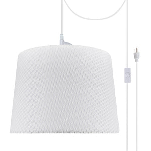 "# 72147-21 One-Light Plug-In Swag Pendant Light Conversion Kit with Transitional Hardback Empire Fabric Lamp Shade, Off White, 14"" width"