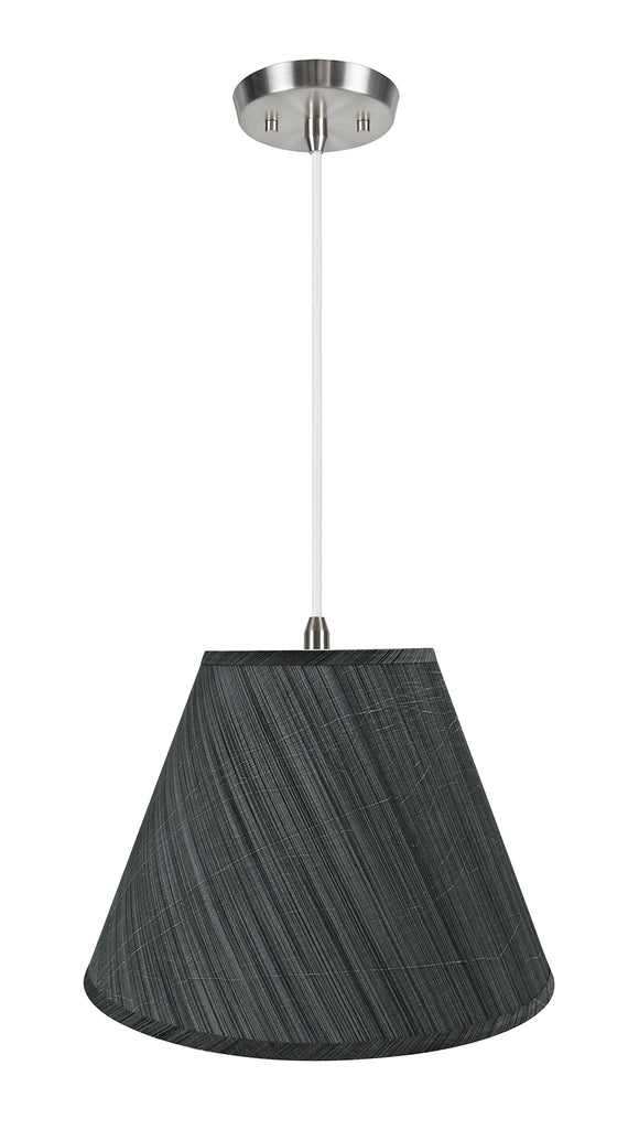 # 72152-11 Two-Light Hanging Pendant Ceiling Light with Transitional Hardback Empire Fabric Lamp Shade, Grey & Black, 15