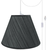 "# 72152-21 Two-Light Plug-In Swag Pendant Light Conversion Kit with Transitional Hardback Empire Fabric Lamp Shade, Grey & Black, 15"" width"