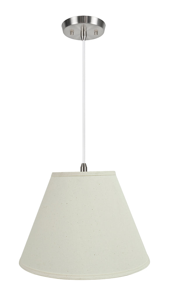 # 72153-11 Two-Light Hanging Pendant Ceiling Light with Transitional Hardback Empire Fabric Lamp Shade, Off White, 15