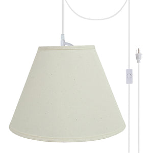 "# 72153-21 Two-Light Plug-In Swag Pendant Light Conversion Kit with Transitional Hardback Empire Fabric Lamp Shade, Off White, 15"" width"