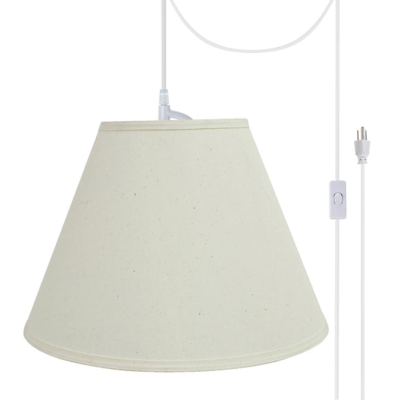 # 72153-21 Two-Light Plug-In Swag Pendant Light Conversion Kit with Transitional Hardback Empire Fabric Lamp Shade, Off White, 15
