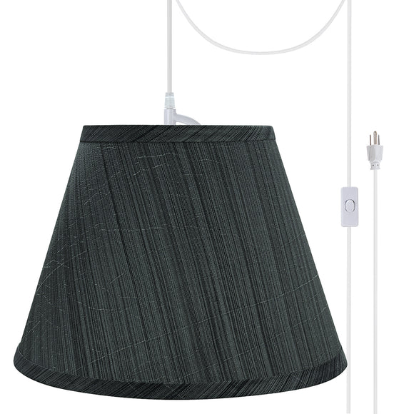 # 72185-21 One-Light Plug-In Swag Pendant Light Conversion Kit with Transitional Hardback Empire Fabric Lamp Shade, Grey-Black, 13
