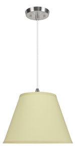 "# 72186-11 One-Light Hanging Pendant Ceiling Light with Transitional Hardback Empire Fabric Lamp Shade, Off White, 13"" width"