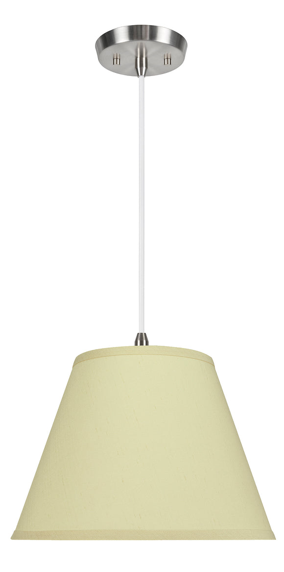 # 72186-11 One-Light Hanging Pendant Ceiling Light with Transitional Hardback Empire Fabric Lamp Shade, Off White, 13