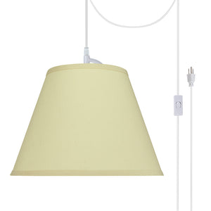 "# 72186-21 One-Light Plug-In Swag Pendant Light Conversion Kit with Transitional Hardback Empire Fabric Lamp Shade, Off White, 13"" width"