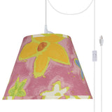 "# 72187-21 One-Light Plug-In Swag Pendant Light Conversion Kit with Transitional Hardback Empire Fabric Lamp Shade, Pink, 13"" width"