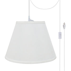 "# 72188-21 One-Light Plug-In Swag Pendant Light Conversion Kit with Transitional Hardback Empire Fabric Lamp Shade, White, 13"" width"