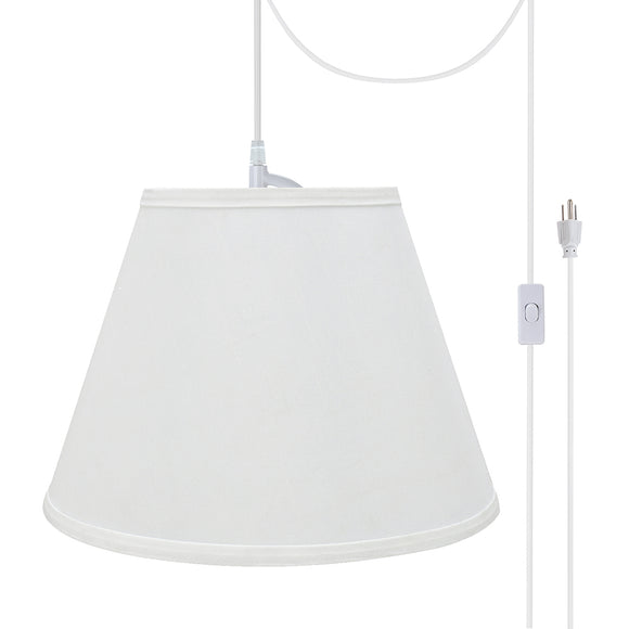 # 72188-21 One-Light Plug-In Swag Pendant Light Conversion Kit with Transitional Hardback Empire Fabric Lamp Shade, White, 13